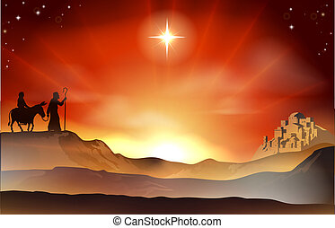 Nativity Christmas story illustrati - Mary and Joseph...