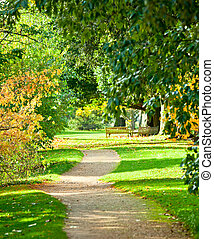 Kew Gardens park - Footpath at the Royal Botanic Gardens in...