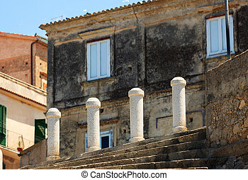 Architectural detail in Tropea - Small columns protecting...