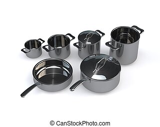 steel pots and pans - Three identical optional stainless...