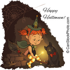 Halloween witch fly on a broom - Cute Halloween witch...