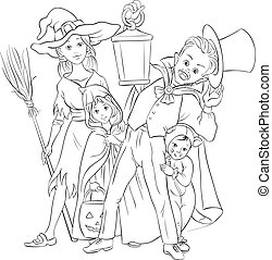 Children playing trick or treat - Coloring book with...