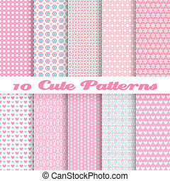Cute different vector seamless patterns (tiling). Pink color...