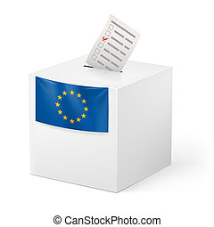 Ballot box with voicing paper. European Union. - Election in...