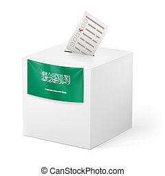 Ballot box with voicing paper. Saudi Arabia. - Election in...