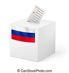 Ballot box with voicing paper. Russia. - Election in Russian...