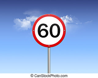 speed limit 60 - road sign showing speed limitation of 60