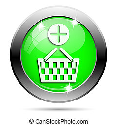 Metallic green glossy icon - Metallic round glossy icon with...