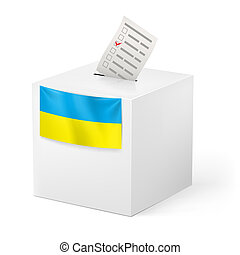 Ballot box with voicing paper. Ukraine. - Election in...