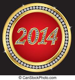 Novo, ano, 2014, ícone, dourado, dia
