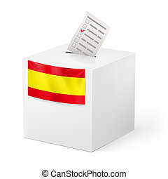 Ballot box with voicing paper. Spain. - Election in Spain:...