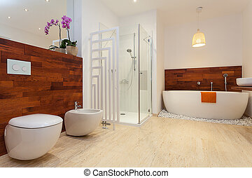 Modern warm bathroom - Modern spacious warm bathroom with...