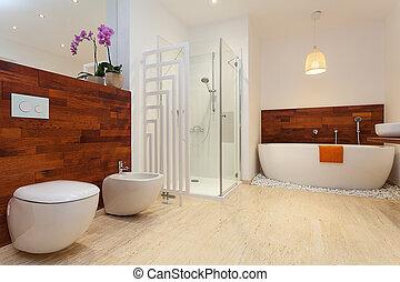 moderno, tibio, cuarto de baño