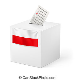 Ballot box with voicing paper. Poland. - Election in Poland:...