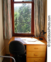 College Dormitory Study - Desk and Chairs at window in...