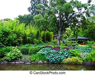 Garden around Pond - Dunedin Botanic Garden, New Zealand