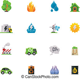 Vector ecology icon set - Set of the simple colorful ecology...