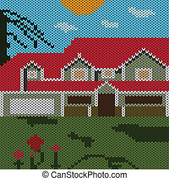 Knitted - landscape with a house