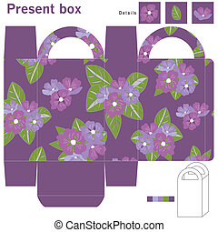 Box with purple flowers