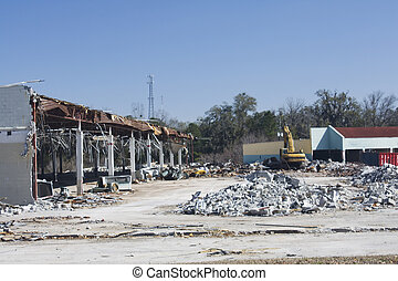 old retail store destruction - demolition of an old retail...