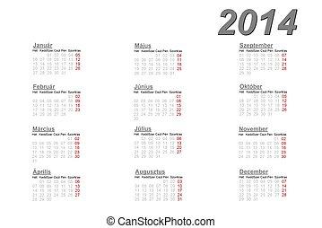 2014, Kalendarz, węgierski