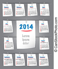 Calendar for 2014 on sticky notes attached with clip
