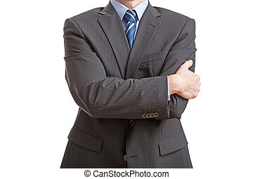 Closed posture - Businessman standing with closed posture,...