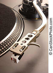 DJ Turntable - Close up of a dj turnatble, stylus and...