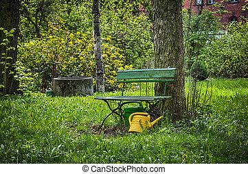 Illustrations de banc jardin - An, illustration, de, une, jardin ...