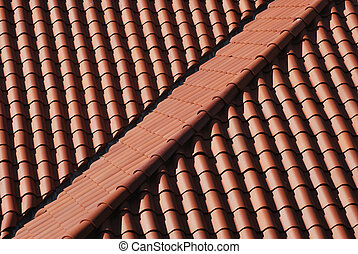 Clay tile roof - A seamed red clay tile roof