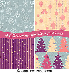 Christmas patterns collection 1 - Collection of 4 seamless...