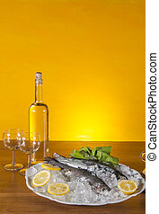 Raw fish, mediterranean composition - Mediterranean theme