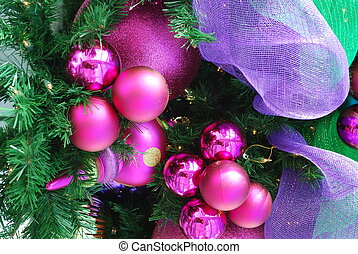 Fuschia Christmas ornaments - A cluster of fuschia Christmas...