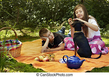 children dog boy girl play picknick summer - children lying...