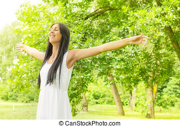 happiness young woman enjoyment in the nature - Happiness...