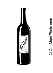 Wine bottle with label - Wine bottle with label - vector...