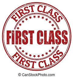 First class stamp - First class grunge rubber stamp, vector...
