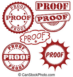 Set of proof stamps - Set of grunge rubber stamps with word...