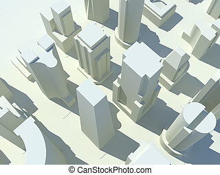Cityscape 5 - A bird\\\'s eye view of a three dimensional...