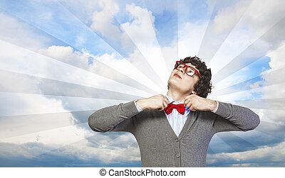 Young joyful man - Image of young man in red glasses