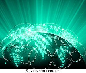 verde, imagem, globo