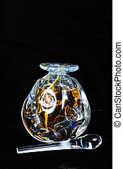 Glass perfume bottle and stopper - Glass perfume bottle with...