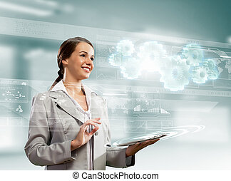 Businesswoman with tablet pc - Image of businesswoman with...