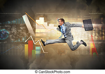 Image of running businessman - Image of a businessman...