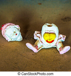doll background - whithout head ceramic doll handmade fun...