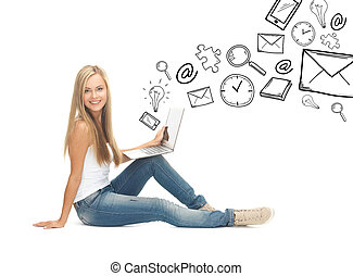 student girl with laptop computer - education and school...