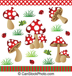 Mushrooms Digital Collage - Scalable vectorial image...