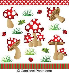 cogumelos, digital, colagem
