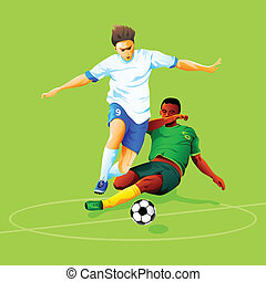 Soccer attack - Two soccer players fighting for a ball