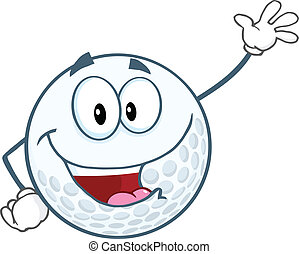 Happy Golf Ball Waving For Greeting